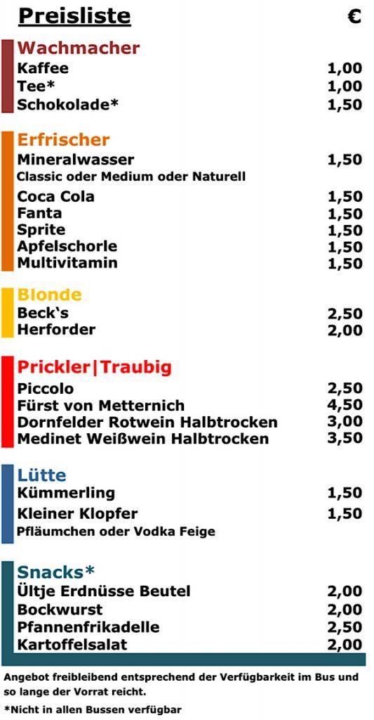 Thomas Krüßmann - Bordbistro - Preisliste Bus